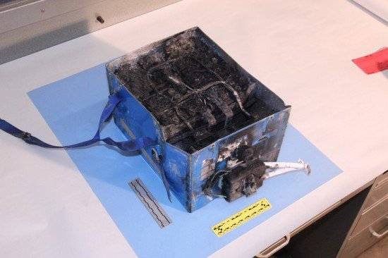 NTSB photo of the burned auxiliary power unit battery from a JAL Boeing 787 that caught fire on Jan. 7 at Boston