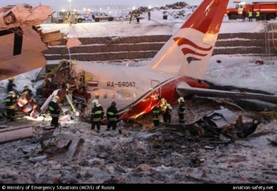 Tail section of the Red Wings Tupolev 204 that crashed on December 29, 2012