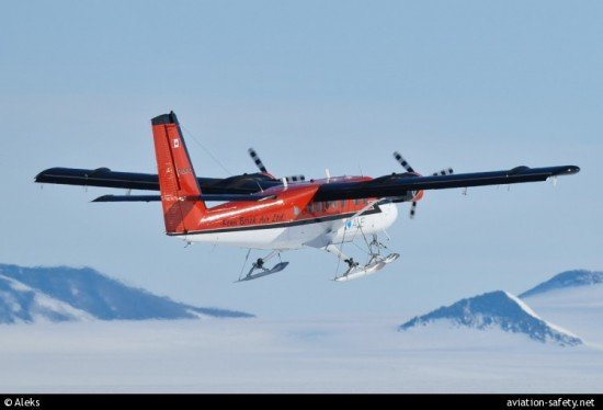 The accident airplane, C-GKBC, seen here on takeoff from Patriot Hills, Antarctica