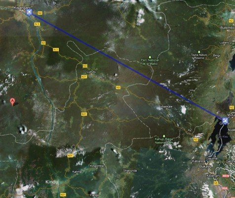 The presumed flight route from Kisangani to Goma with the wreckage location(red pin).
