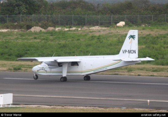File photo of the accident aircraft, Islander VP-MON