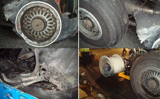 Photos indicating the condition of the landing gears' hubs and tires at  Male airport prior to removal from the aircraft. (GCAA)