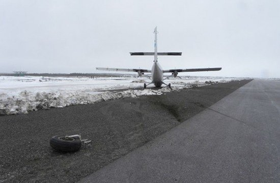 The aircraft, after coming to rest off the side of the runway (Photo: Royal Canadian Mounted Police)