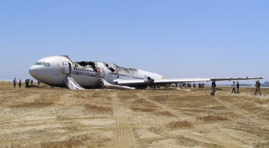 The Boeing 777 as it came to rest (NTSB)